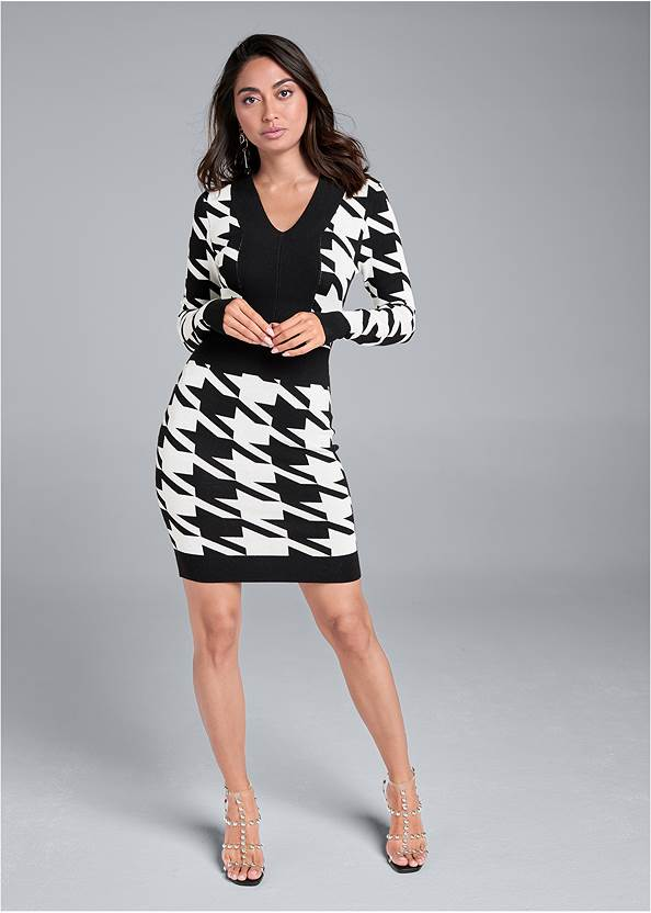 Houndstooth Sweater Dress,Pearl By Venus® Perfect Coverage Bra,Smoothing High Waist Brief,High Heel Strappy Sandals,Studded Faux Leather Tote
