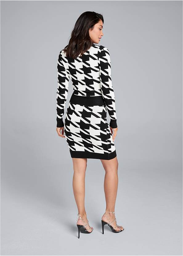 Full back view Houndstooth Sweater Dress