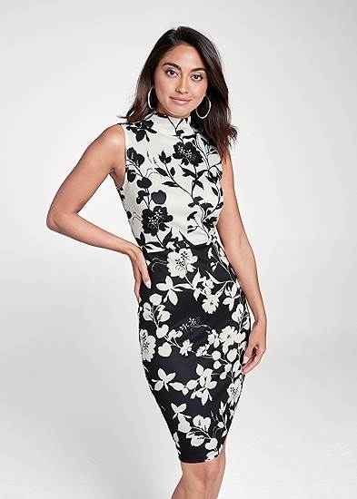 Floral Mock Neck Midi Dress