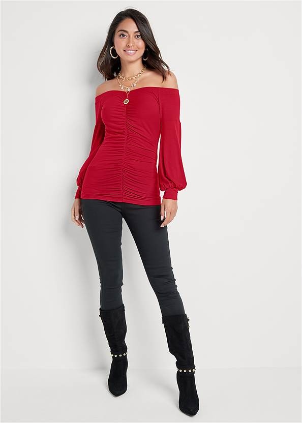 Full front view Ruched Off-The-Shoulder Top