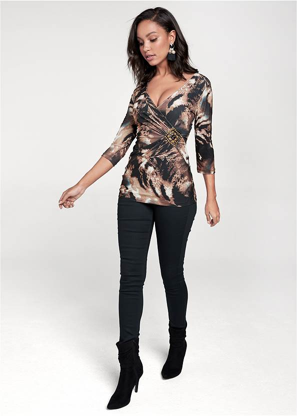 Full front view Printed Embellished Top
