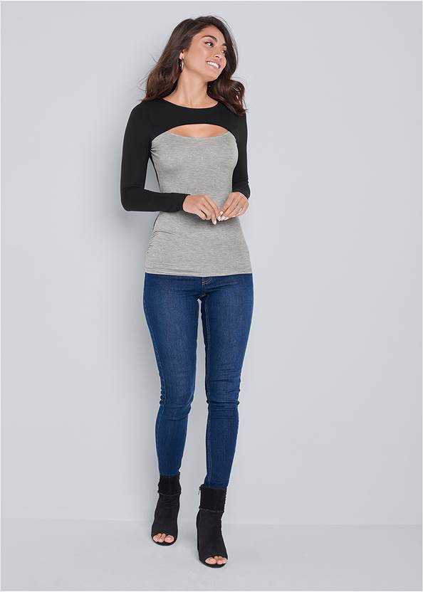 Full front view Color Block Casual Top
