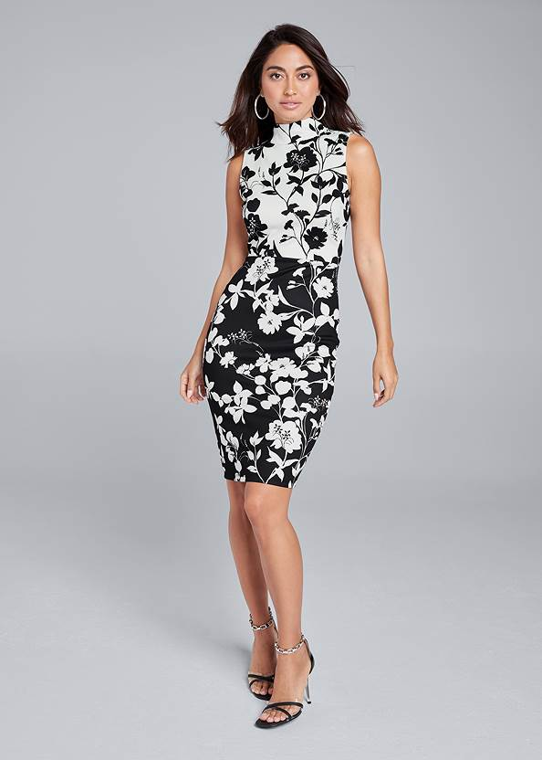 Full front view Floral Mock Neck Midi Dress