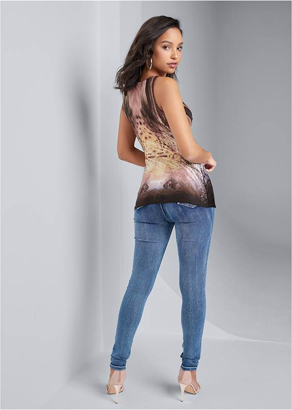 Full back view Printed Embellished Top