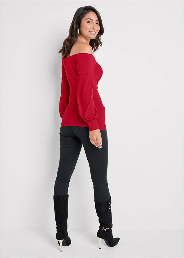 Full back view Ruched Off-The-Shoulder Top