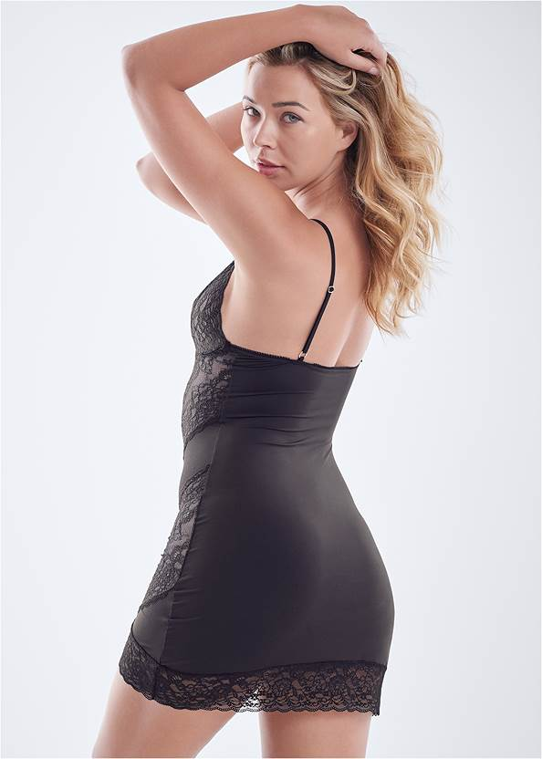 Cropped back view Lace And Mesh Chemise