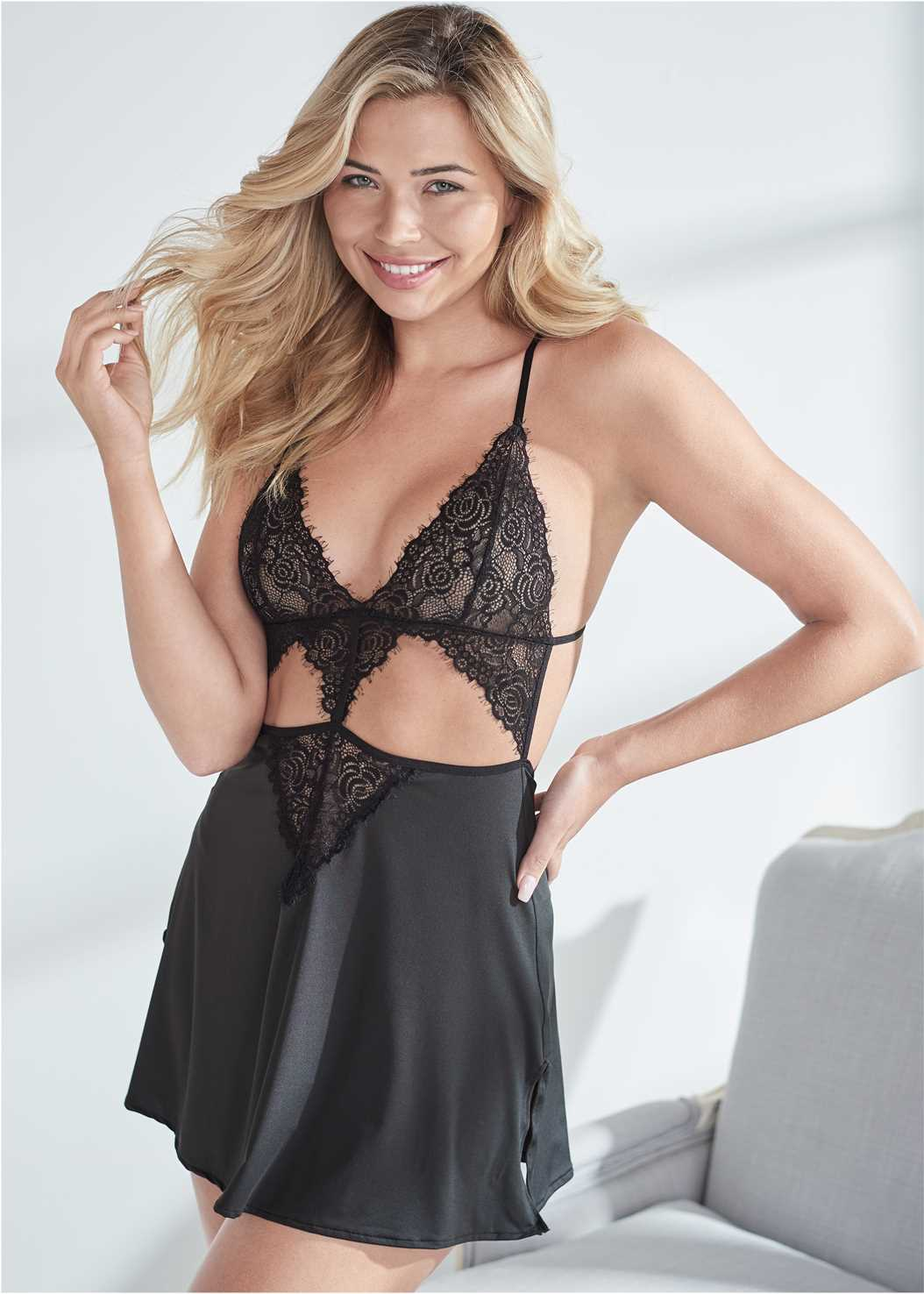 Lace Babydoll With Cutouts