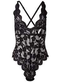 Ghost with background  view Sheer Lace Bodysuit
