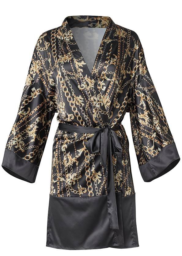 Ghost with background  view Satin Kimono Robe