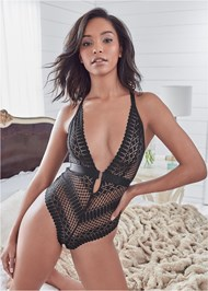 Cropped front view Deep Plunge Bodysuit
