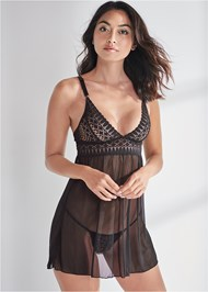 Cropped front view Geo Lace Babydoll