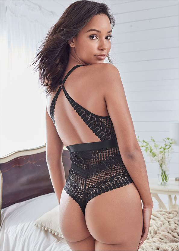 Cropped back view Deep Plunge Bodysuit