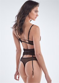Cropped back view Embroidered Lingerie Set