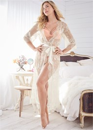 Full Front View Sheer Lace Maxi Robe