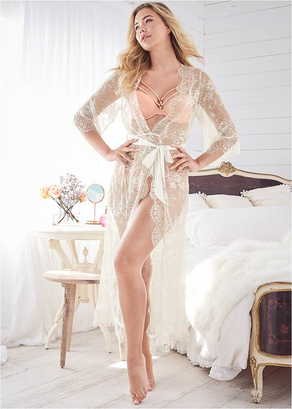Sheer Lace Maxi Robe,Pearl™ By Venus Strappy Plunge Bra,Pearl™ By Venus Perfect Coverage Bra,Pearl™ By Venus All Over Lace Thong 3 Pack