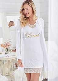 Cropped front view Bride Sleepshirt Robe Set