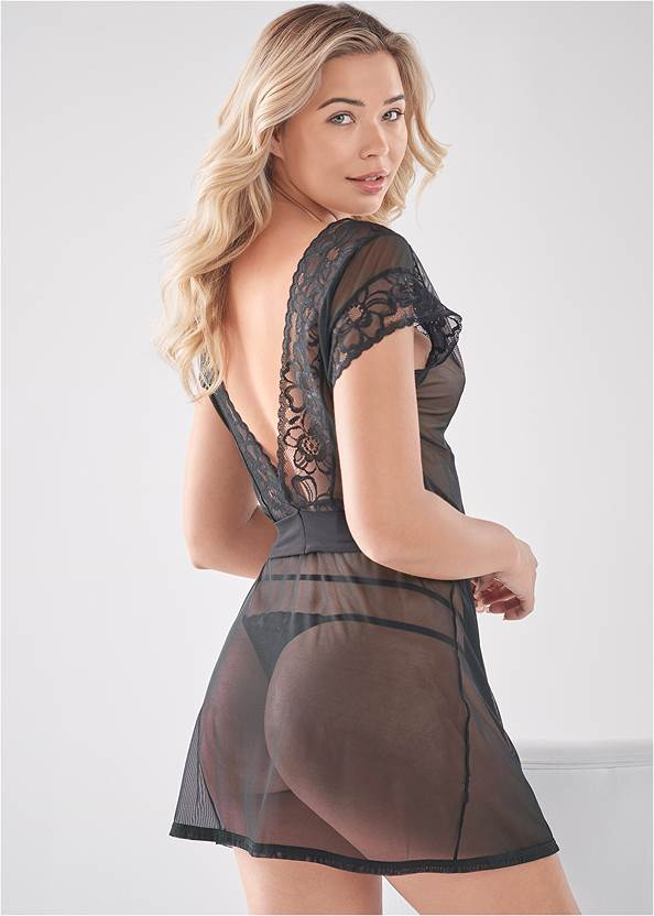 Back View Lace Short Sleeve Robe