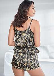 Full back view Lace Trim Shorts Set