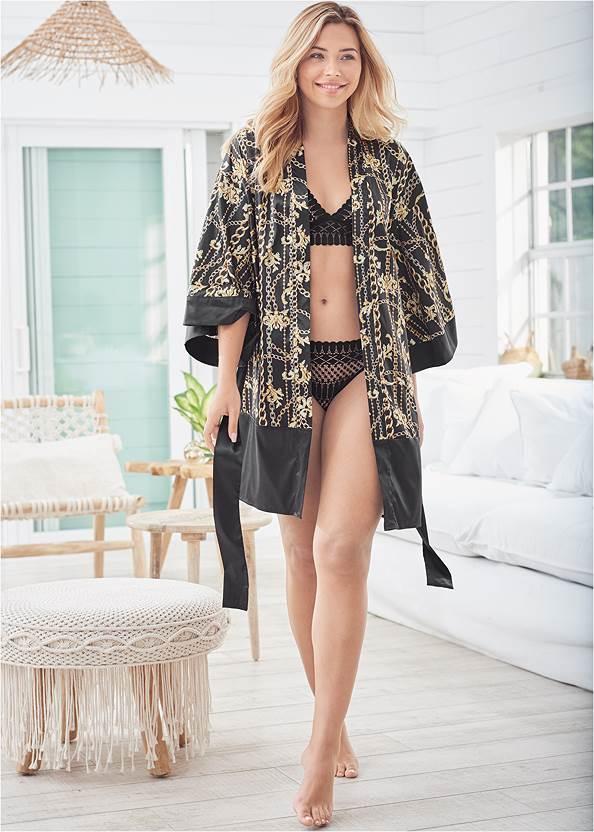 Satin Kimono Robe,Lace Trim Shorts Set
