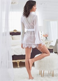 Alternate View Sheer Robe With Lace Trim