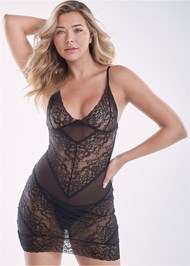 Cropped Front View Lace And Mesh Chemise