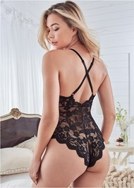 Cropped back view Sheer Lace Bodysuit