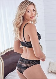 Cropped back view Geo Lace Bra And Panty Set