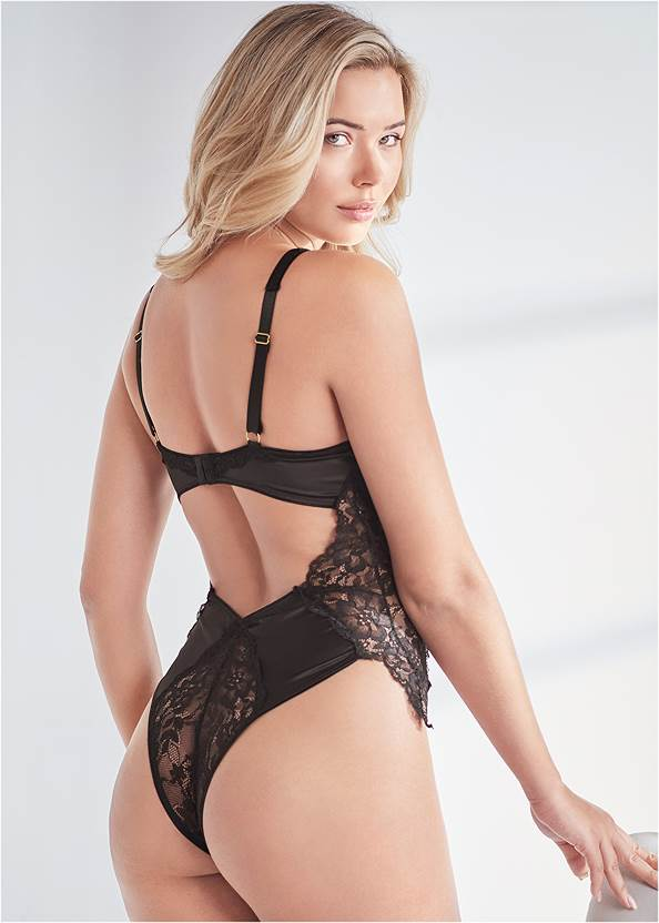 Back View Satin And Lace Bodysuit