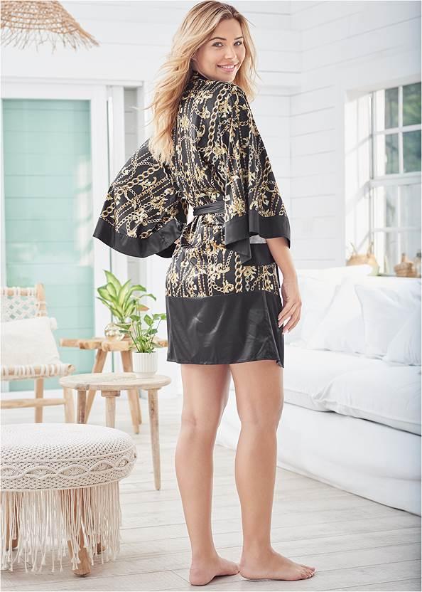 Full back view Satin Kimono Robe