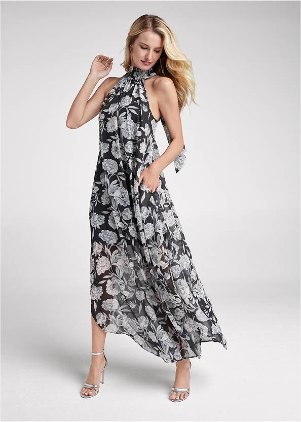 High Neck Floral Maxi Dress,Sexy Ankle Strap Heels,Statement Earring Set,Rhinestone Clutch
