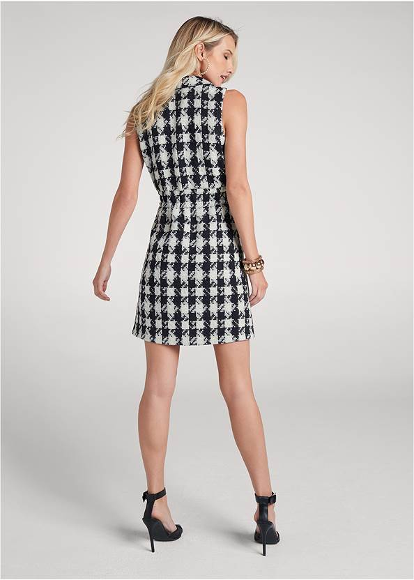 Back View Houndstooth A-Line Dress