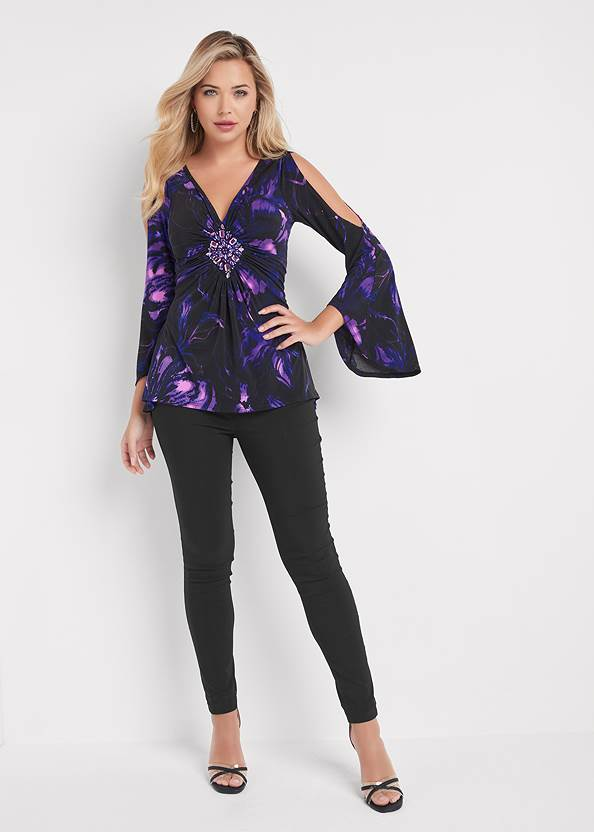 Full front view Embellished Floral Top
