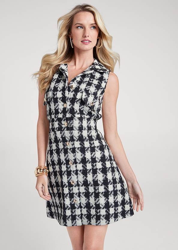 Houndstooth A-Line Dress,Mesh Pumps With Ankle Strap,Pearl Hoop Earrings,Chunky Stretch Bracelet Set