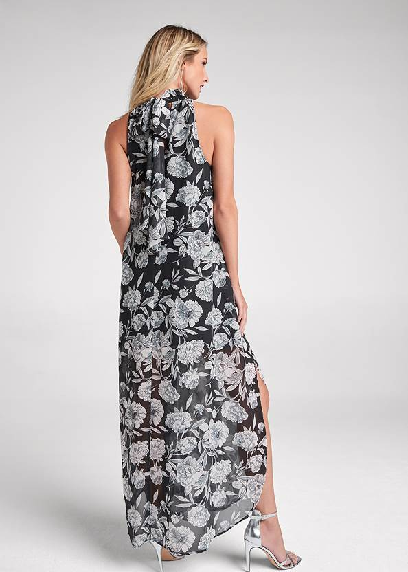 Full back view High Neck Floral Maxi Dress