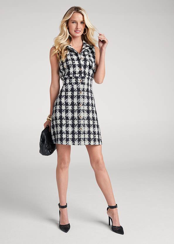 Full Front View Houndstooth A-Line Dress