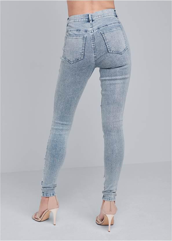 Waist down back view Sequin Mesh Detail Jeans