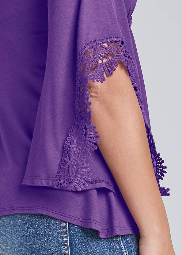 Detail back view Lace Bell Sleeve Boho Top