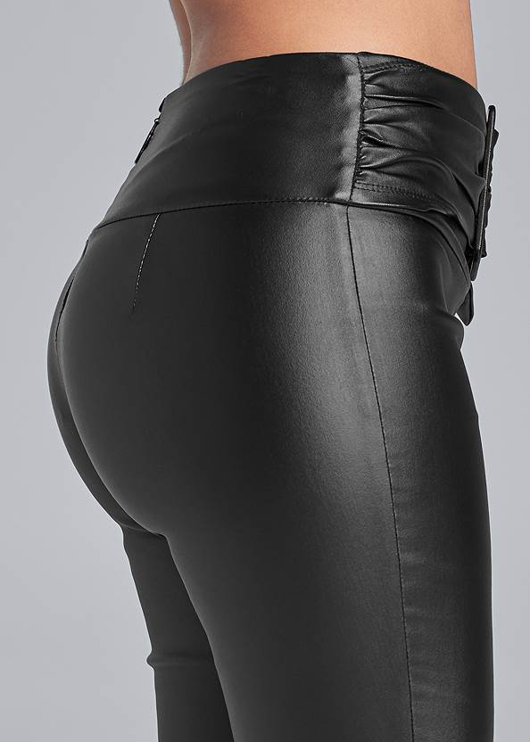 Detail side view Belted Faux Leather Leggings