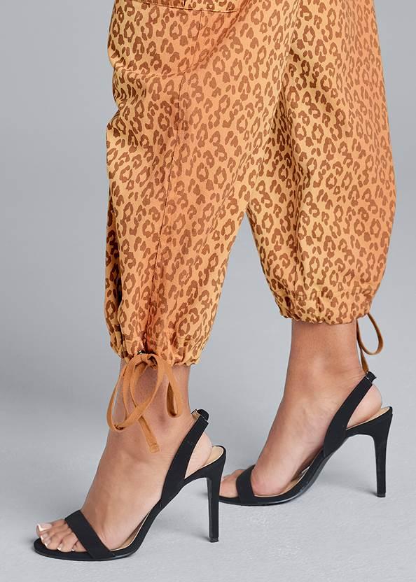Detail side view Leopard Print Cargo Pants