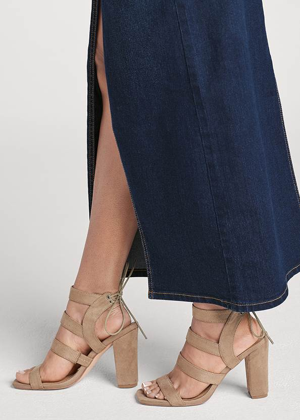 Detail side view Jean Front Slit Maxi Skirt