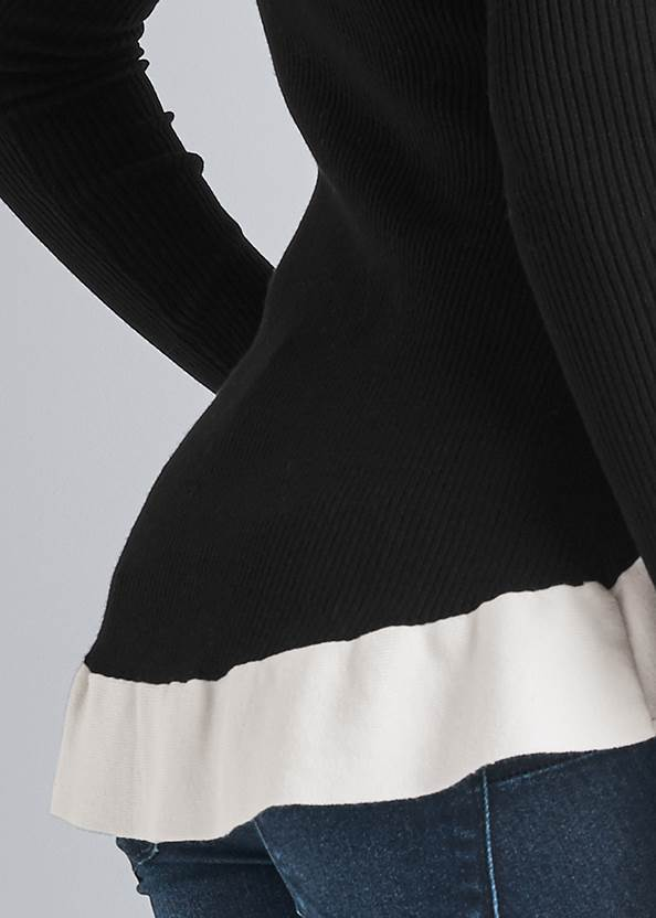 Detail back view Deep-V High-Low Sweater