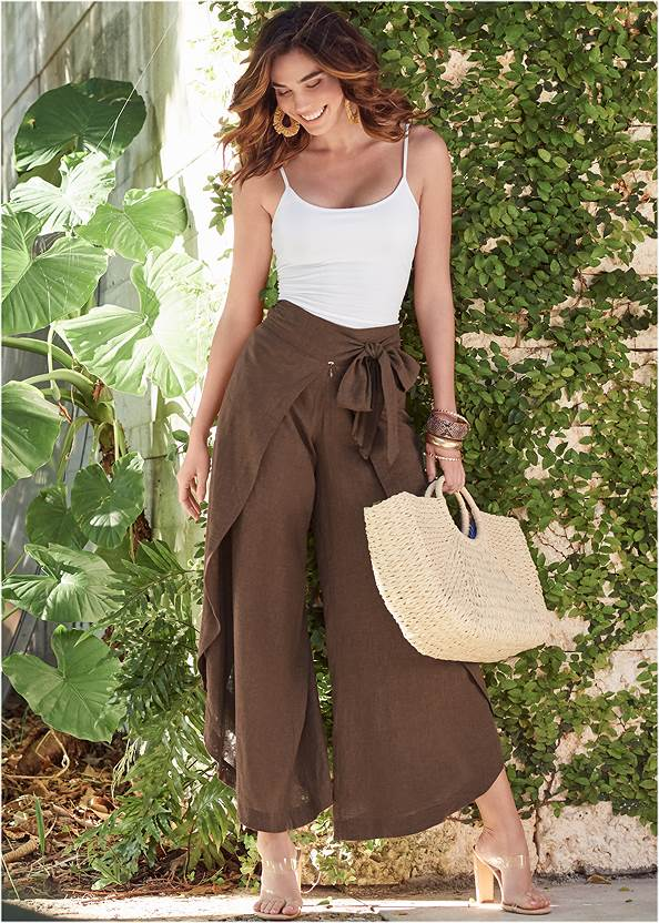 Wrap Front Wide Leg Linen Pants,Basic Cami Two Pack,Tiger Square Neck Tank Top,Lucite Toe Loop Mule,Convertible Straw Tote Bag,Double Strap Cork Wedge