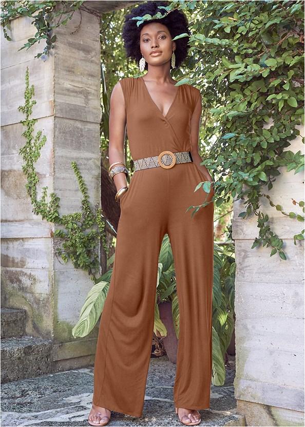 Wide Leg Surplice Jumpsuit,Ankle Strap Cork Heel,Braided Rope Waist Belt,Leaf Earring Set,Lucite Toe Loop Mule,Pearl Resin Leaf Earring