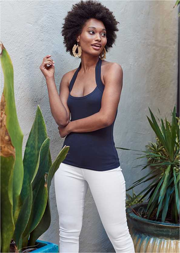Easy Halter Top,Mid Rise Color Skinny Jeans,Lace Up Espadrille Wedge,Beaded Raffia Hoop Earrings