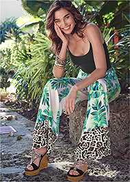 Full Front View Palm Print Tie Front Pant