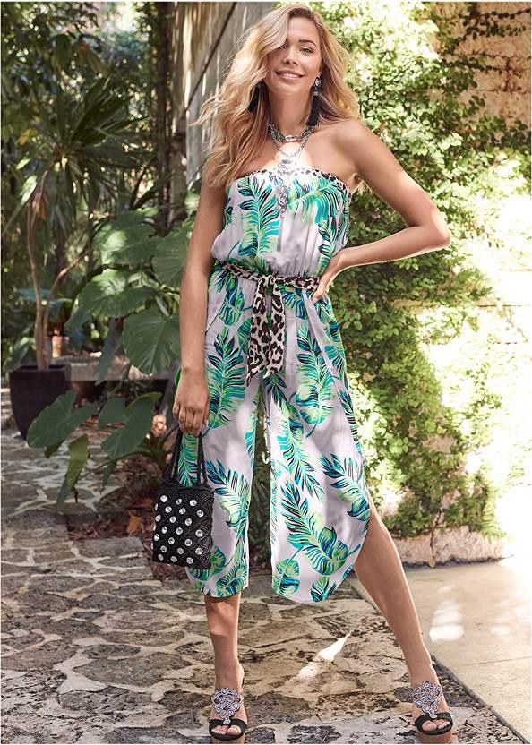 Palm Print Jumpsuit,Beaded Cork Wedge,Jewel Toe Loop Lucite Sandals,Rhinestone Crochet Mini Bag,Pearl™ By Venus Strapless Bra