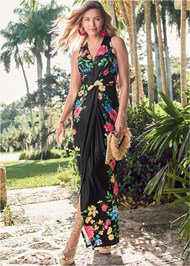 Full Front View Twist Front Floral Maxi Dress