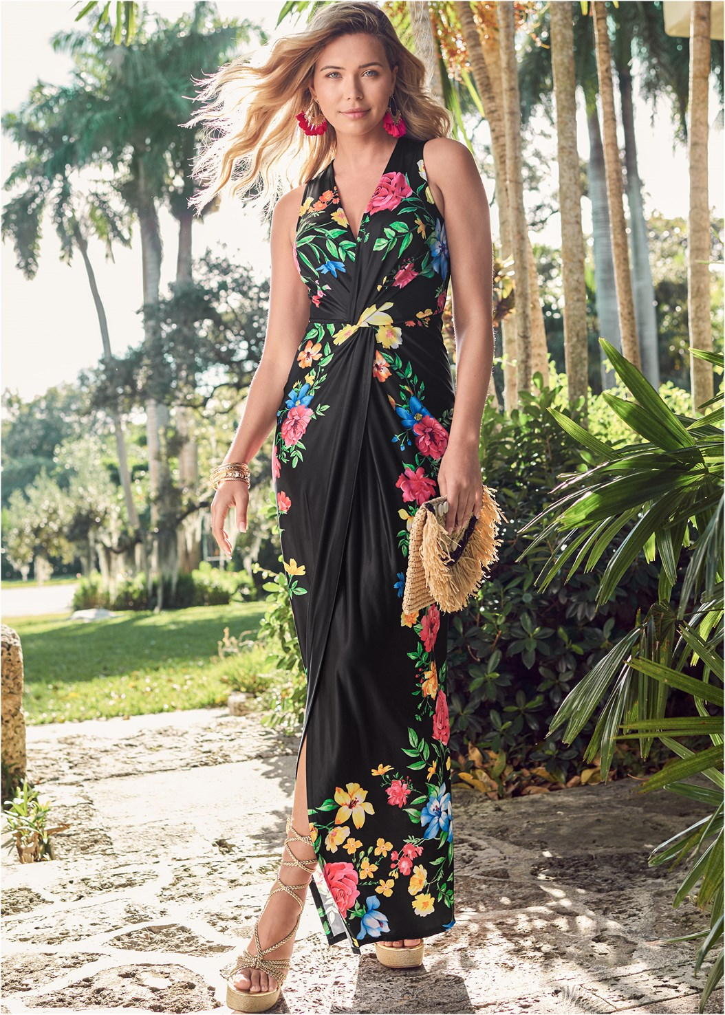 Twist Front Floral Maxi Dress,Lace Up Espadrille Wedge,Wrap Around Wedges,Embellished Wedge,Tassel Rhinestone Earrings,Raffia Tassel Shell Clutch