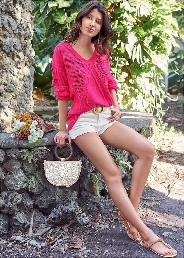 Oversized Cable Knit Sweater,Basic Cami Two Pack,Frayed Cut Off Jean Shorts,Beaded Oval Bag