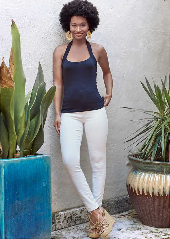 Mid Rise Color Skinny Jeans,Easy Halter Top,Lace Up Espadrille Wedge,High Heel Strappy Sandals,Beaded Raffia Hoop Earrings